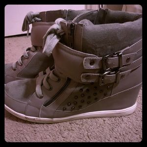 Torrid Grey Wedge Sneakers with Buckles and Spikes